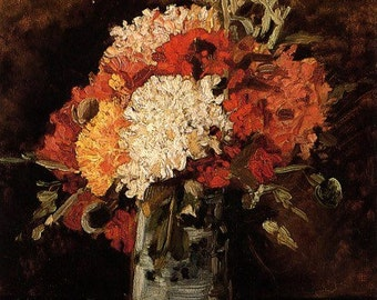 Fine Art Print of Carnations in Vase by Vincent Van Gogh