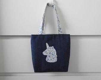 Unicorn Gift, Personalised Child Book Bag, Child's Tote Bag, Girls Handbag, Mini Bag, Kids Bag, Toddler Bag, Reading Bag. Handmade