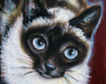 """8"""" x 8"""" Custom Pet Portrait Painting of One Cat on Ready to Hang Canvas Cat Portrait"""