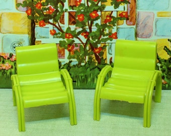 Marx plastic dollhouse furniture patio CHAIRS for your tin litho Marxie Mansion dollhouse