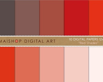 Solid Color Digital Paper 'Red Shades' Instant Download Plain Printable Sheets for Digital Scrapbooking, Paper Crafts, Decoupage...