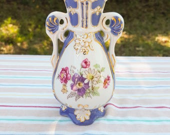 Vintage Royal Dux Bohemia Porcelain Vase Czechoslovakia Floral Amphora