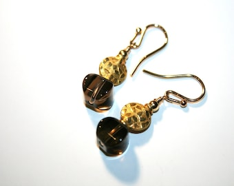 BJORN Smokey Quartz, Vermeil and GF Earrings