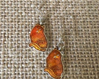 Enamel FOX Earrings