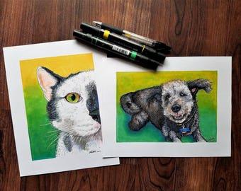 Custom Pet Portrait from Photo- Animal Lover Gift, Custom Pet Illustration, Custom Dog and Cat Drawing, Art Commission, Pet Portrait Art