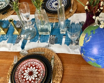 Turquoise table runner, home decor for your dining table and makes your table center piece look fab. Great wedding gift or housewarming gift