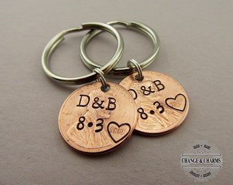 Personalized Lucky Penny Keychain, Girlfriend, Boyfriend, Anniversary Gift, For Him, Husband, Wife Gift, Wedding, Custom Gift,Lucky Keychain