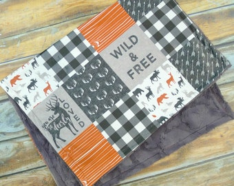 Little Man Minky Blanket - Deer Blanket - Buck Blanket -  Baby Blanket - Designer Minky - Grey - Orange - Woodland Nursery - Baby Blankets