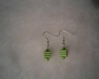 green white stripe cube earrings