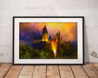 Hogwarts Castle at Night Print, Harry Potter Painting,