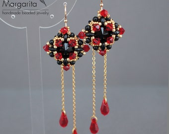 Long beaded earrings with chains, earrings with red and black swarovski crystals, earrings with drops, red black beadwork earrings beadwoven