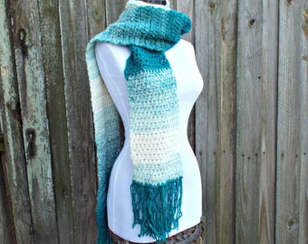 Teal Blue and Cream Crocheted Scarf - Teal Scarf Cream Scarf Blue Scarf Winter Scarf Ombre Scarf - READY TO SHIP