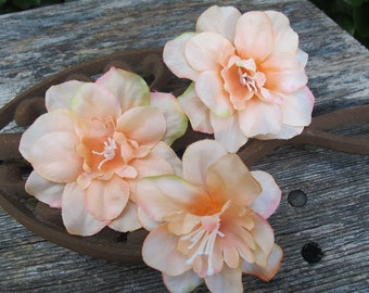 CORAL Larkspur Flowers SET OF 3 bobby pins - hair clips - Weddings