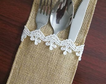 Set of 10-Table Setting,Wedding Table Set,Burlap Silverware Holder,Wedding Rustic Menu,Burlap table decoration,Rustic table decor, - (PY)06