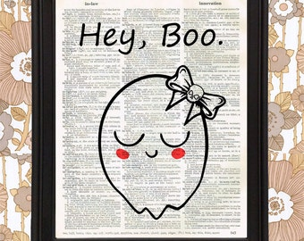 Creepy Cute Ghost with Skull Bow saying Hey Boo - Unique Gift for her, best friend gift meme poster dictionary art funny wall art dorm decor