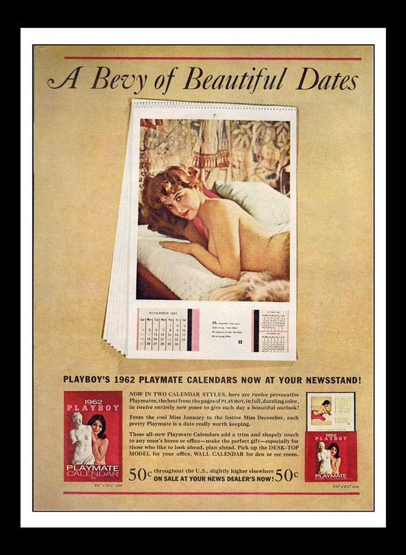 Vintage Print Ad 1960\'s : Playboy 1962 Playmate Calendar