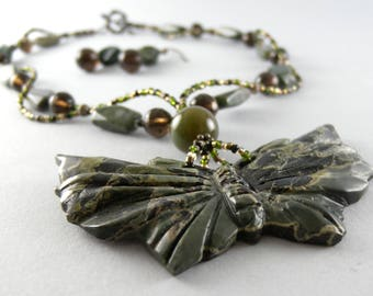 Hand Carved Green Jasper and Smoky Quartz Butterfly Necklace and Matching Earring Set