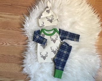 newborn boy coming home outfit - going home outfit - deer - take home outfit - hospital outfit - baby boy clothes