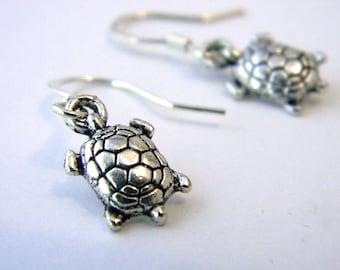Small Turtle Earrings Silver Color Dangle Earrings