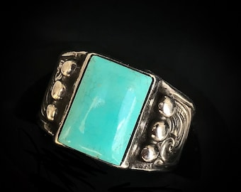 Rockin Out Jewelry - Savannah - Sterling Silver - Turquoise - Ring - Western Style - Beaded Border - Engraved - Scrolls - Boho - Women's