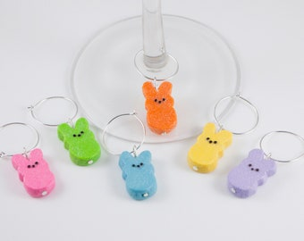 Easter Wine Charms, Easter Wine Gift, Bunny Wine Charms, Easter Bunny Wine Charms, Easter Party Gift, Wine Charms, Wine Markers, Wine Gift