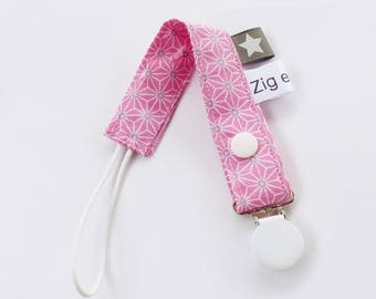 Pacifier clip-stars asanohas-pink - grey - white pattern fabric