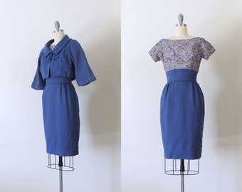 Vintage 1960s blue wiggle dress w/ cropped jacket | 60s suit dress 1950s 50s dress set | silk print and wool | Betty Carol | DEADSTOCK | XS