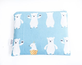 30% Off Sale - Small Wet Bag Pouch / Makeup Toiletry Bag with Waterproof Lining - Blue Polar Bear