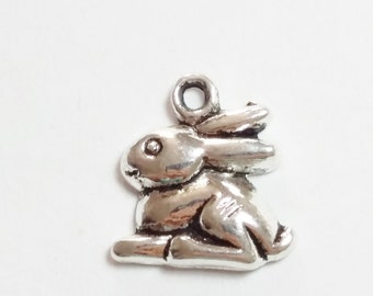 10pcs Rabbit Charms - Antique Silver Bunny 15x13mm Jewelry Supplies - B10887