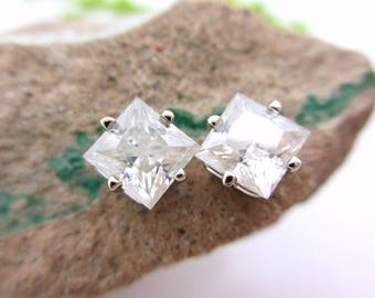 Princess Cut Moissanite Studs - Lab Grown Moissanite Stud Earrings in Real 14k White or Rose Gold, 4mm, 5mm