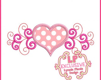 3 Color Swirl Heart Applique 4x4 5x7 6x10 Machine Embroidery Design