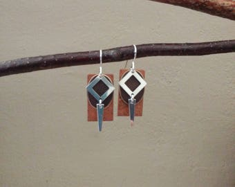Geometric Earrings, Artisan Copper, Aged Brass, Sterling Silver, Modren, Contemporary, Rectangle, Oval, Diamond,  Spike Shape