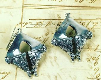 Vintage boho hippe sterling silver earringgs