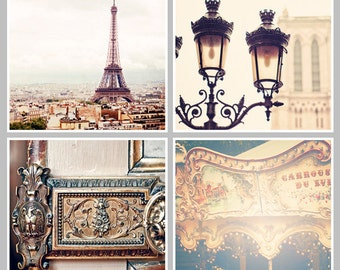 PARIS Collection Set of 4 Paris Prints Paris Photography Square Prints, Black, Gold, Eiffel Tower, Notre Dame, Carrousel, Ornate Door Lock