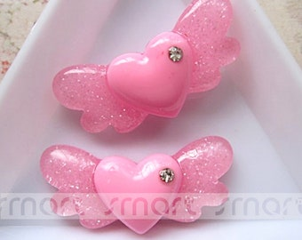 10PCS Pink Heart Wings Resin Flatback Cabochon For Craft Decoration 2.8x1.5cm