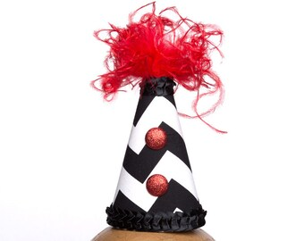 Clown Hat Black and White Chevron with Red Accents