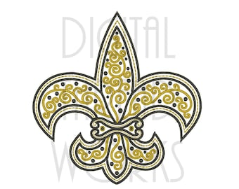 Filigree Scroll Fleur De Lis Black & Gold Embroidery Design for 4x4 5x7 and 6x10 inch hoops. Instant Download. Item# FFDL015