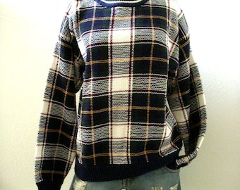 Vintage 80s 90s Plaid Sweater - Mens Cotton Pullover Sweater - Navy Blue and White Plaid Grunge Sweater - Boyfriend Sweater - Mens Medium