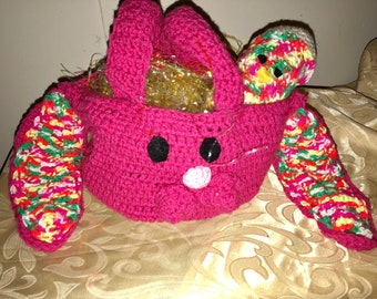 Easter bunny basket with chick egg