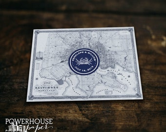 Baltimore Vintage Map Post Card Save the Date