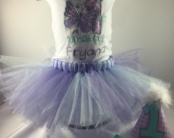 1st Birthday Outfit-Girls 1st Birthday-Birthday Tutu-Cake Smash Outfit-Personalized Shirt-Lavender And Baby Blue-Butterfly Birthday