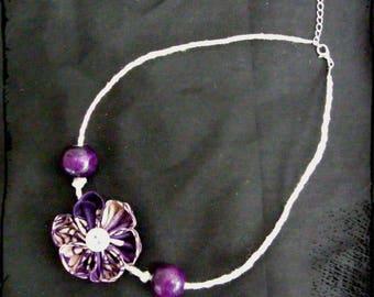 """Romantic"" wax kanzashi Flower necklace"