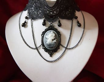 Gothic Victorian Antique Style Black Lace choker with Grey Cameo, chains and glass beads
