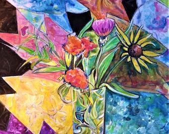 Original Floral and Quilt Art - Floral Art - Wall Art - Original Acrylic - Leah Reynolds