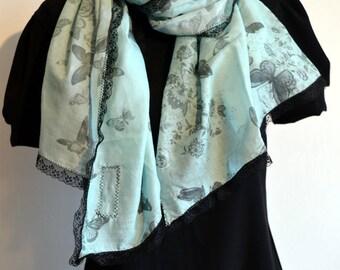 foulard (c32) voile de coton et papillons