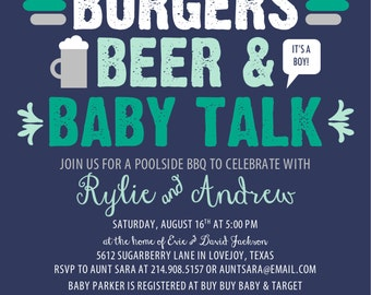 "BBQ Baby Shower Invitation  - Navy & Teal/Mint Ombre {5.5""x5.5"" - DIY Printable Invitation}"