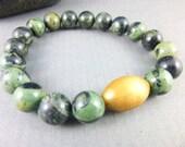 Kambaba Jasper Heart Chakra Bracelet, Dark Green Mala Stretch Bracelet, Healing Crystals Chakra Jewelry