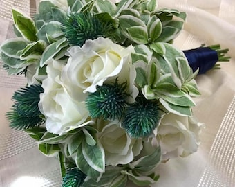 White Rose, Thistle, and Ivy Bridal Bouquet and Groom Boutonniere Set  by The Chattanooga Wreath Company