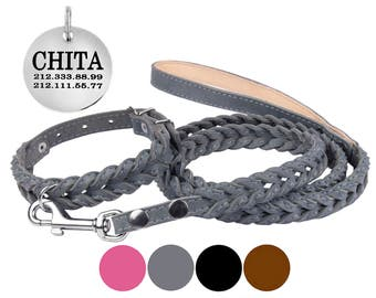 Dog Collar, Leather Dog Collar, Leather Dog Collar Personalized, Braided Dog Collar, Dog Collar Leash Set, Dog Leash