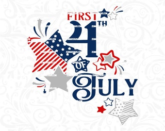 4th of july svg - baby svg - commercial use svg - silhouette svg file -  first 4th of july - .DXF .SVG .PNG Silhouette studio - cutting file